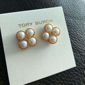 Tory Burch Pearl Gold Studs